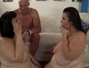 Trío sexual con dos gordas hambrientas de buen sexo